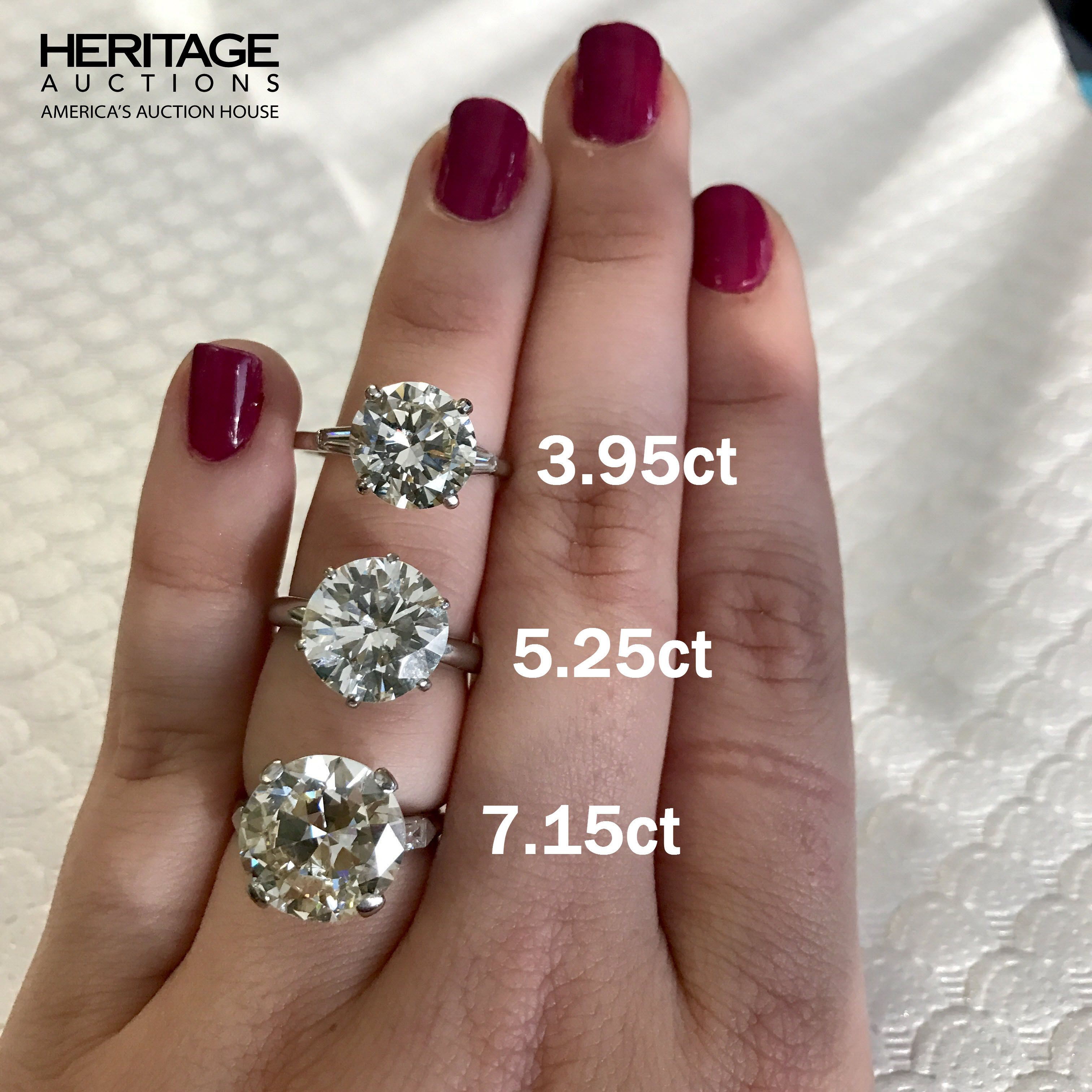 Round Cut Diamond Engagement Ring Carat Size Guide on Hand 3