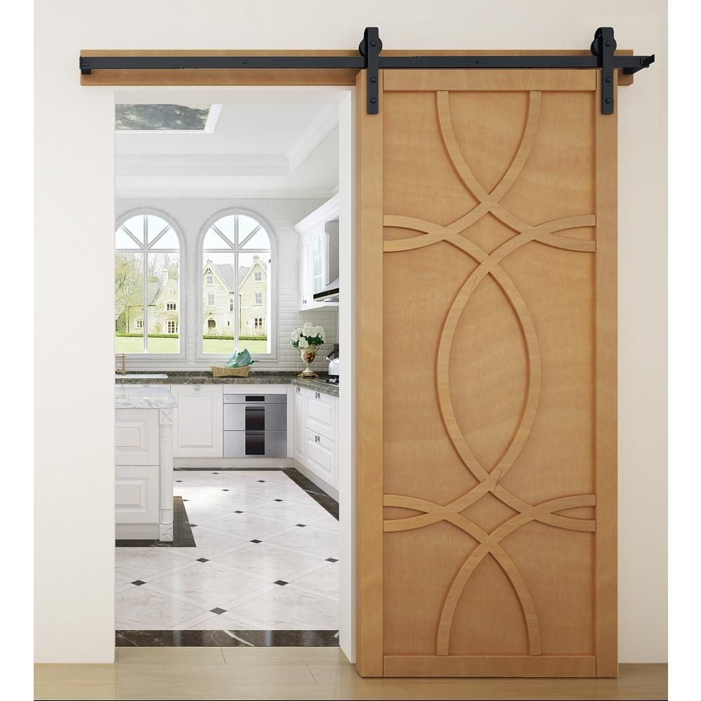Verycustom 42 In X 84 In Hollywood Sands Wood Sliding Barn Door With Hardware Kit Rwhw42ssb1 The Home Depot Woods Sliding Wood Barn Door Barn Door Designs