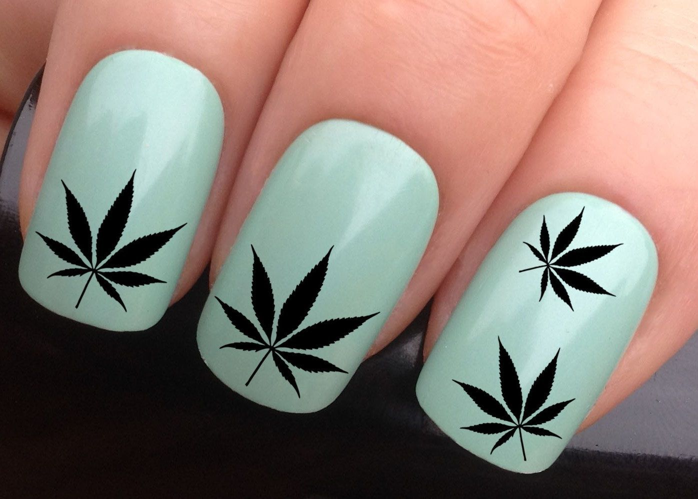 Nail decals #617 black cannabis leaf hash marijuana leaves pot dope ...