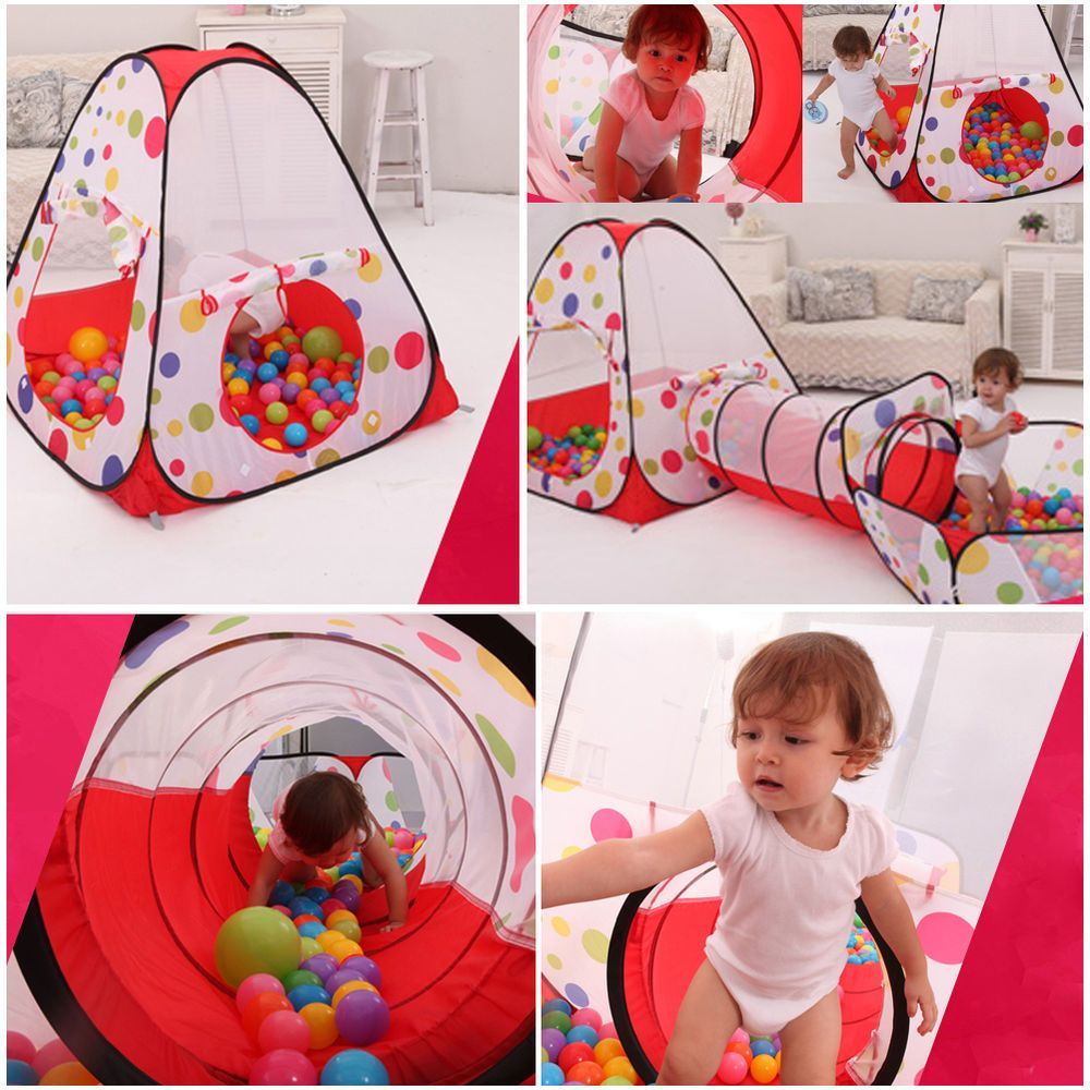 3In1 Indoor Toddler Portable Kids Play Tent Play House Tents Tunnel Ball Pit Toy  sc 1 st  Pinterest & 3In1 Indoor Toddler Portable Kids Play Tent Play House Tents ...