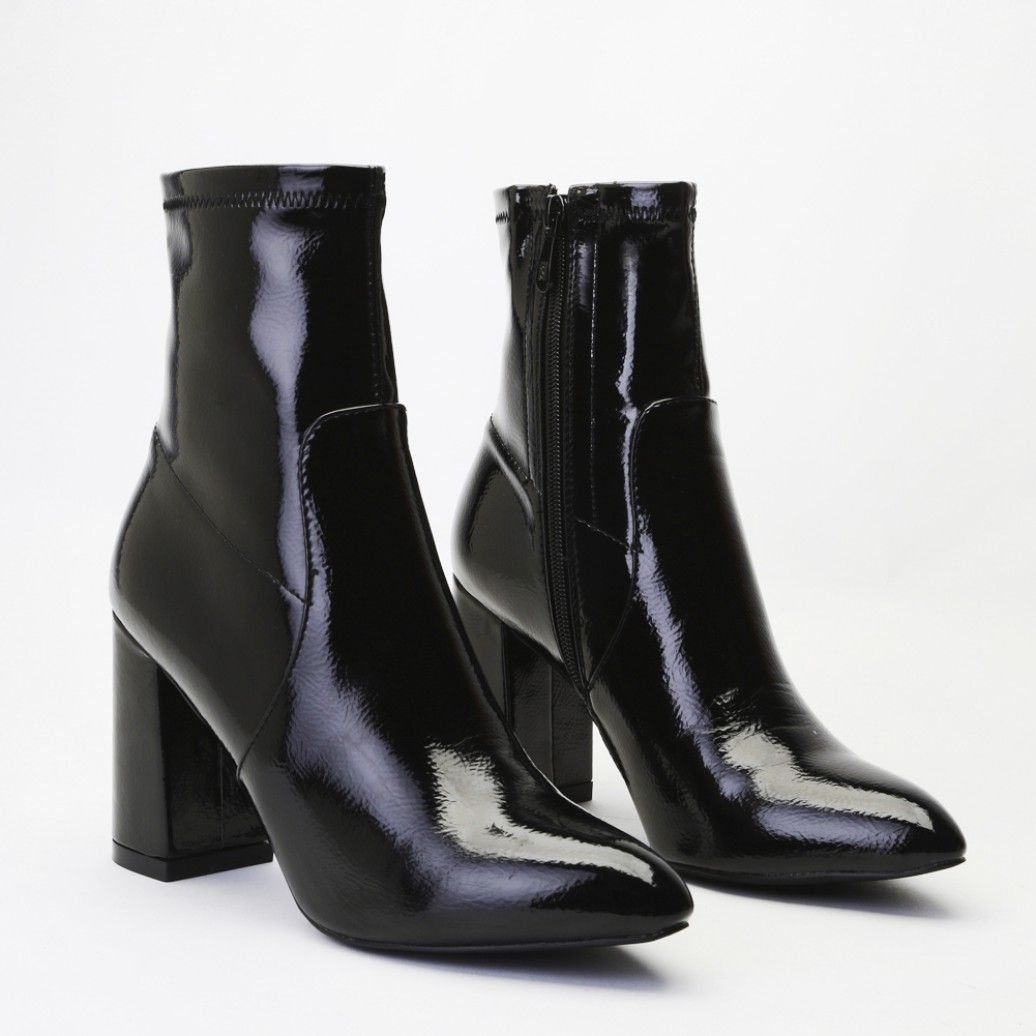 9b92db8bc0a Raya Pointed Toe Ankle Boots in Black Patent | FOOTWEAR | Pointed ...