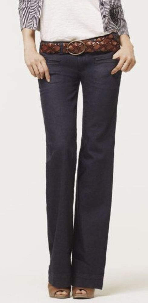 ANN TAYLOR FLARE LEG DENIM TROUSER JEANS - DISTRESSED DARK RINSE - SIZE 0 PETITE #AnnTaylor #Flare