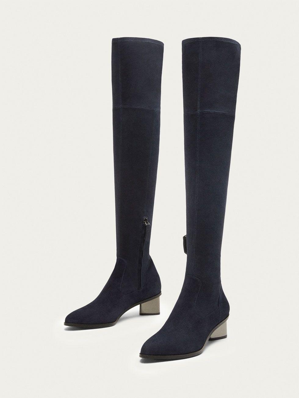 BOTA TACÓN PIEL XL ANTE AZUL de MUJER - Zapatos - Ver todo de Massimo Dutti d3db4bb74efa