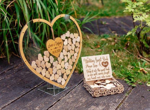 Wedding Heart Guest Book Wooden Guest Book Wooden Heart Bank Guest Book