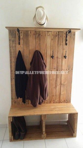 Range chaussures banc cintre et hatstand pour le vestibule avec des palette - Porte manteau en palette ...