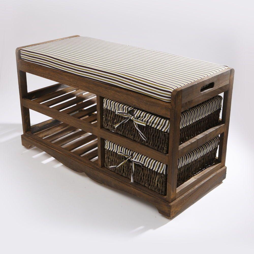 Hallway storage and seating  Stripey Ottoman Brown Wooden Storage Hallway Bench Wicker Baskets
