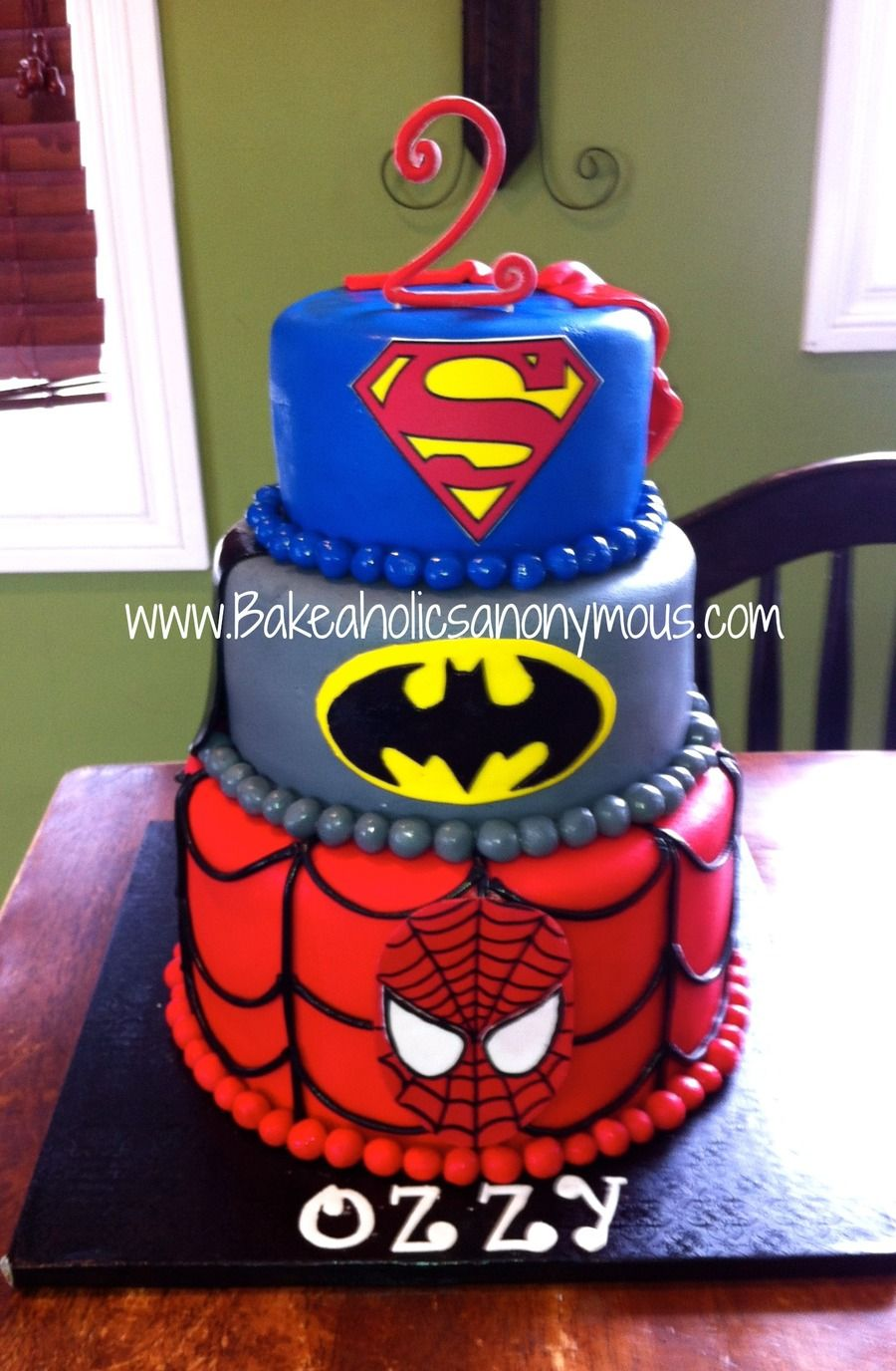 Super Hero Cake Batman Spiderman And Superman All