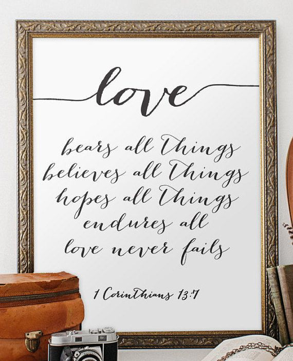 Wedding quote from the bible verse print wall art decor poster love ...