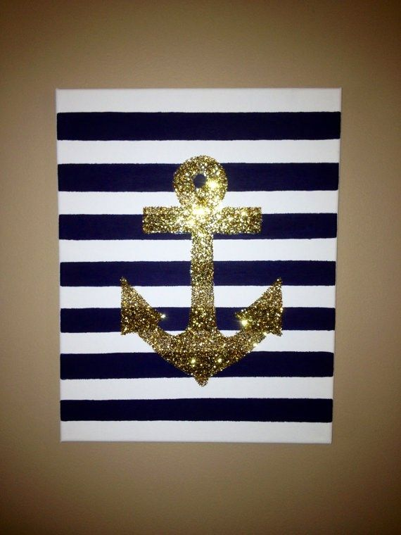 Hand Painted 8x10 Stripe And Glitter Anchor Canvas Crafts Diy Canvas Hand Painted