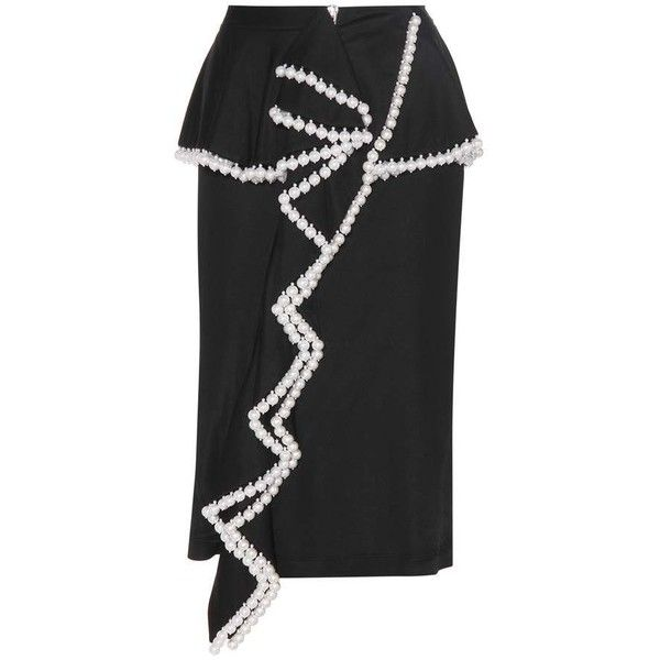 Givenchy Faux Pearl Embellished Skirt ($4,120) ❤ liked on Polyvore featuring skirts, black, embellished skirt, givenchy and givenchy skirt