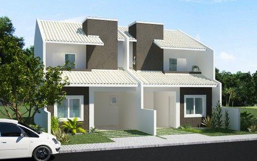 Fachada moderna de uma casa lado a lado arquitectura que for Casas duplex modernas