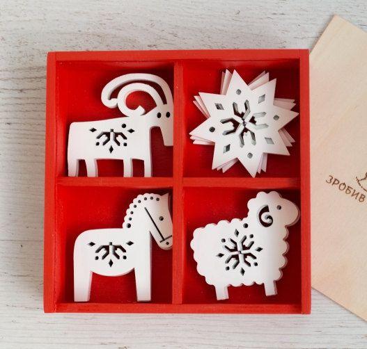 Unique Christmas Set of Rustic Ornaments, Wooden Christmas