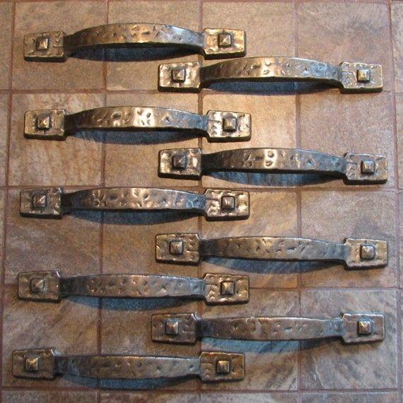 Vintage Hammered Rustic Cabinet Drawer Pulls Handles Set Of 9