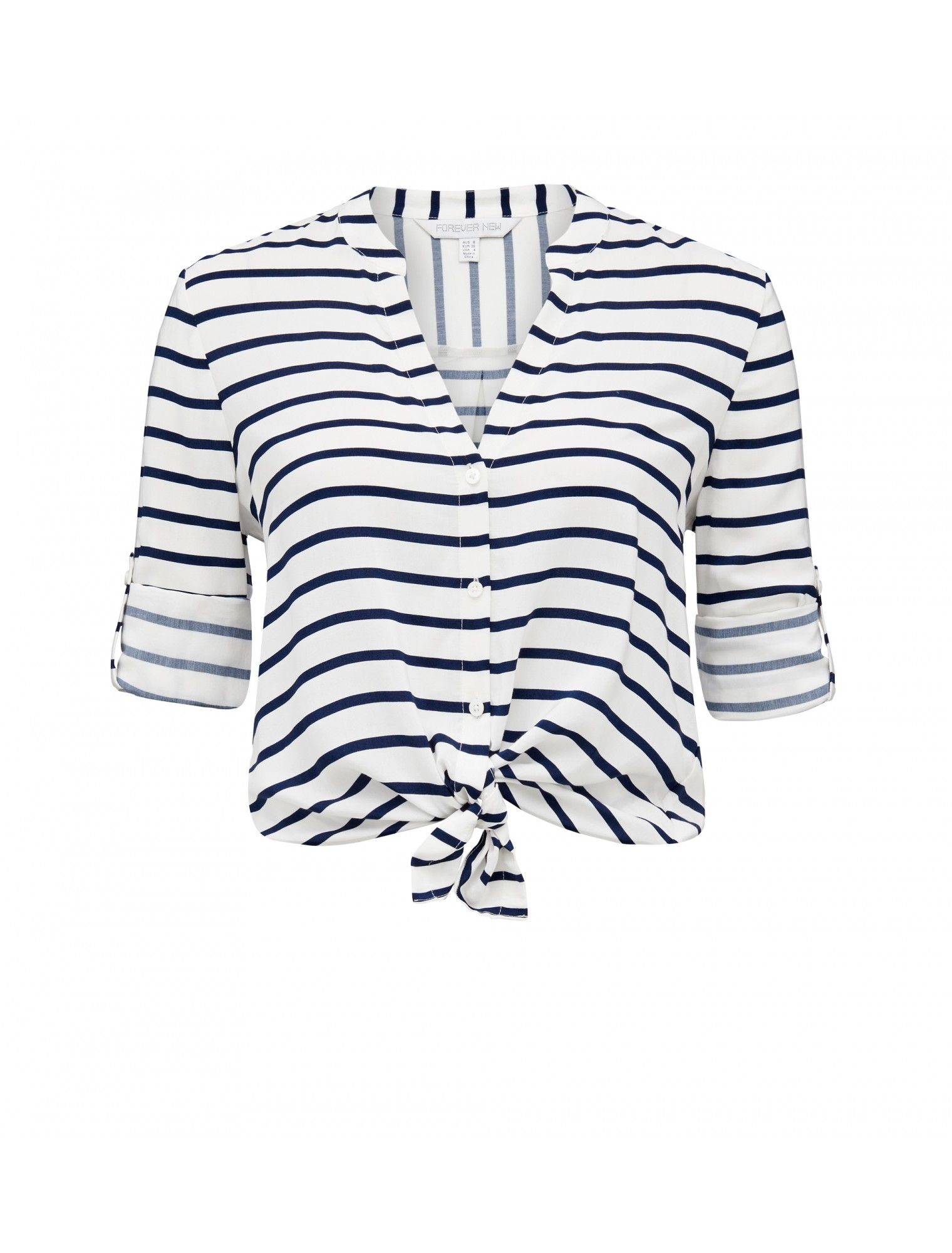 Jodie Tie Front Stripe Shirt | Forever New
