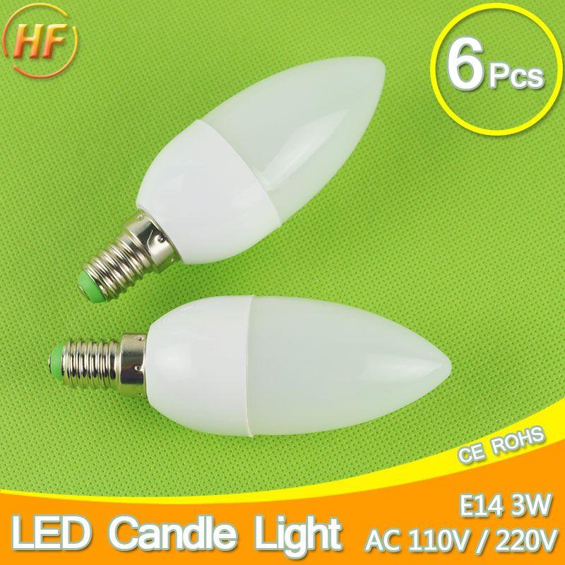 6PCS E14 LED Candle Bulb 110V 220V Cool Warm White 3w 2w SMD 2835