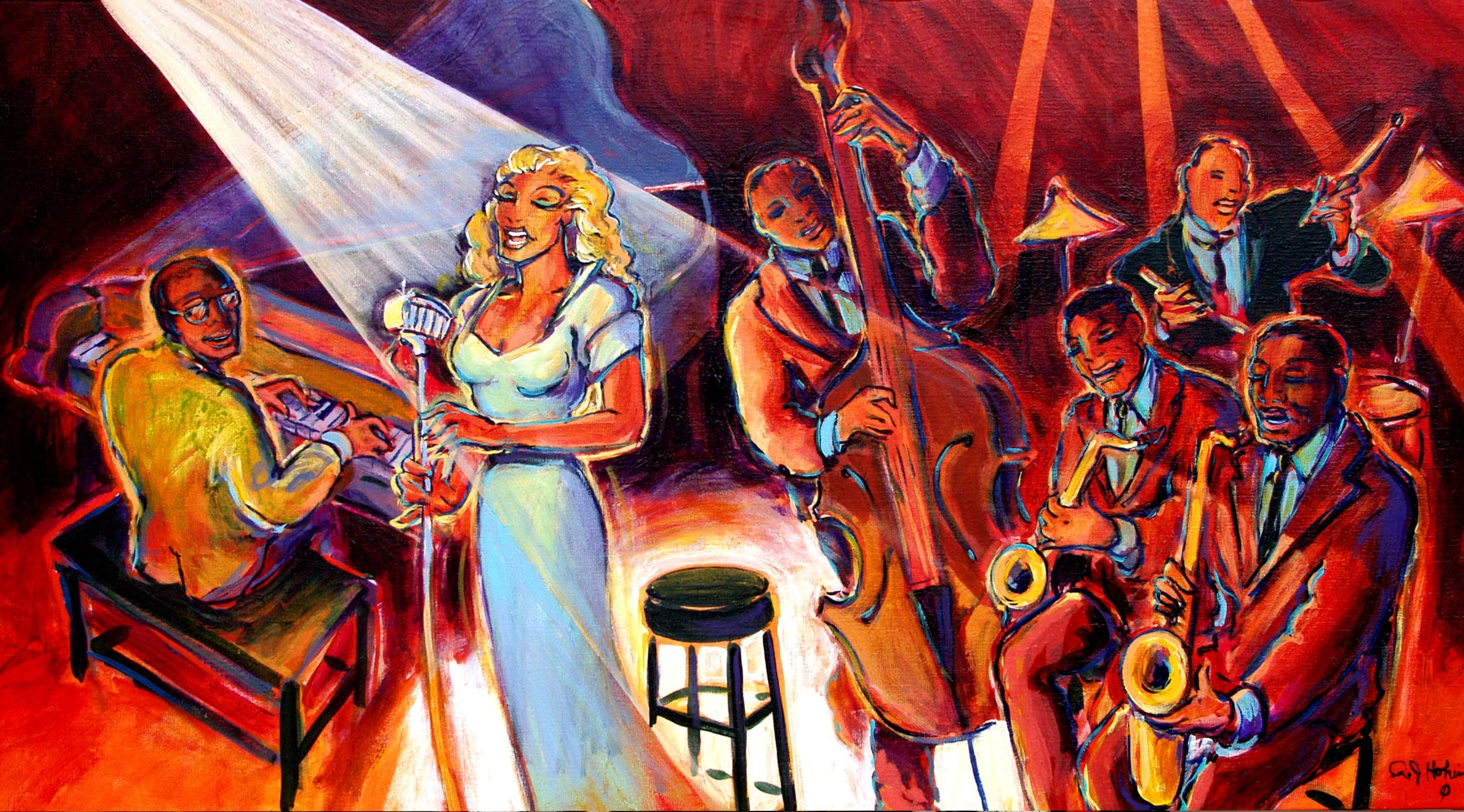 Jazz art paintings and prints by artist rj hohimer
