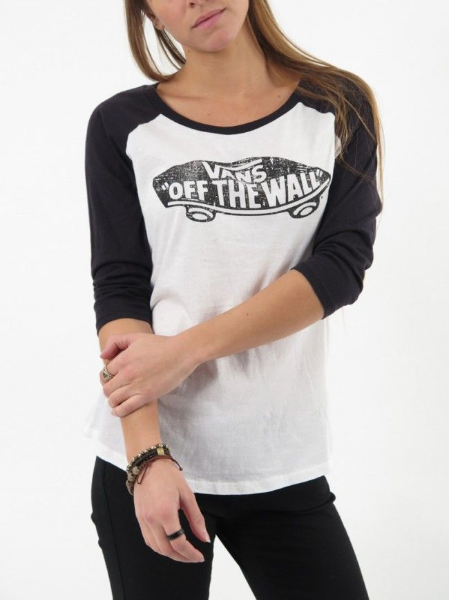 "a5e928b6809ac7 The Authentic Skateboard Raglan Tee made of 50% polyester 38% cotton 12%  rayon is a graphic printed Ÿ sleeve raglan tee with a Vans ""Off The Wall""  logo on ..."
