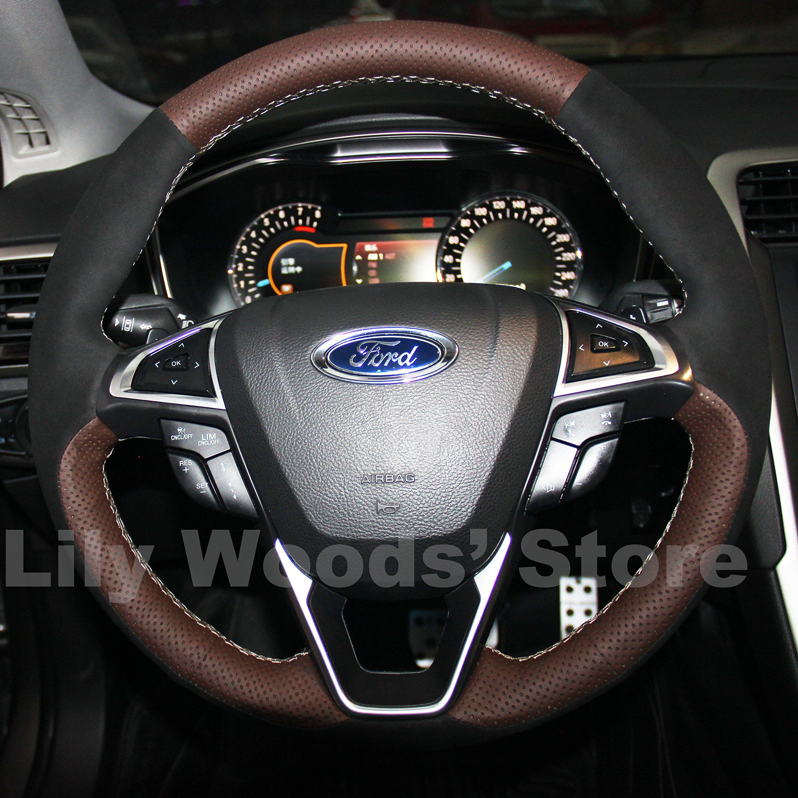 Hand Sewing Black Genuine Leather Steering Wheel Cover For 2015