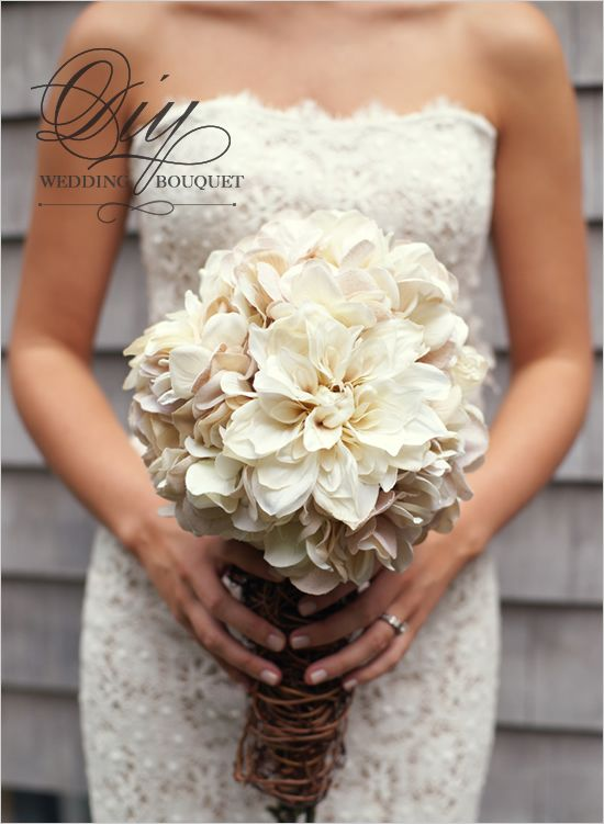 Diy Hydrangea And Mum Bouquet White Wedding Bouquets Diy