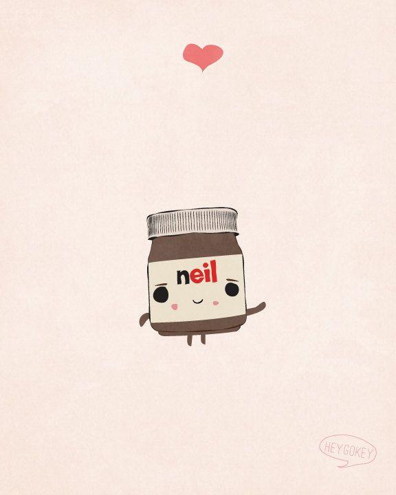Kawaii Nutella Illustration - 8x10 Print - Ink Drawing, Quirky Wall Art, Food, Chocolate, Cream. $16.00, via Etsy.