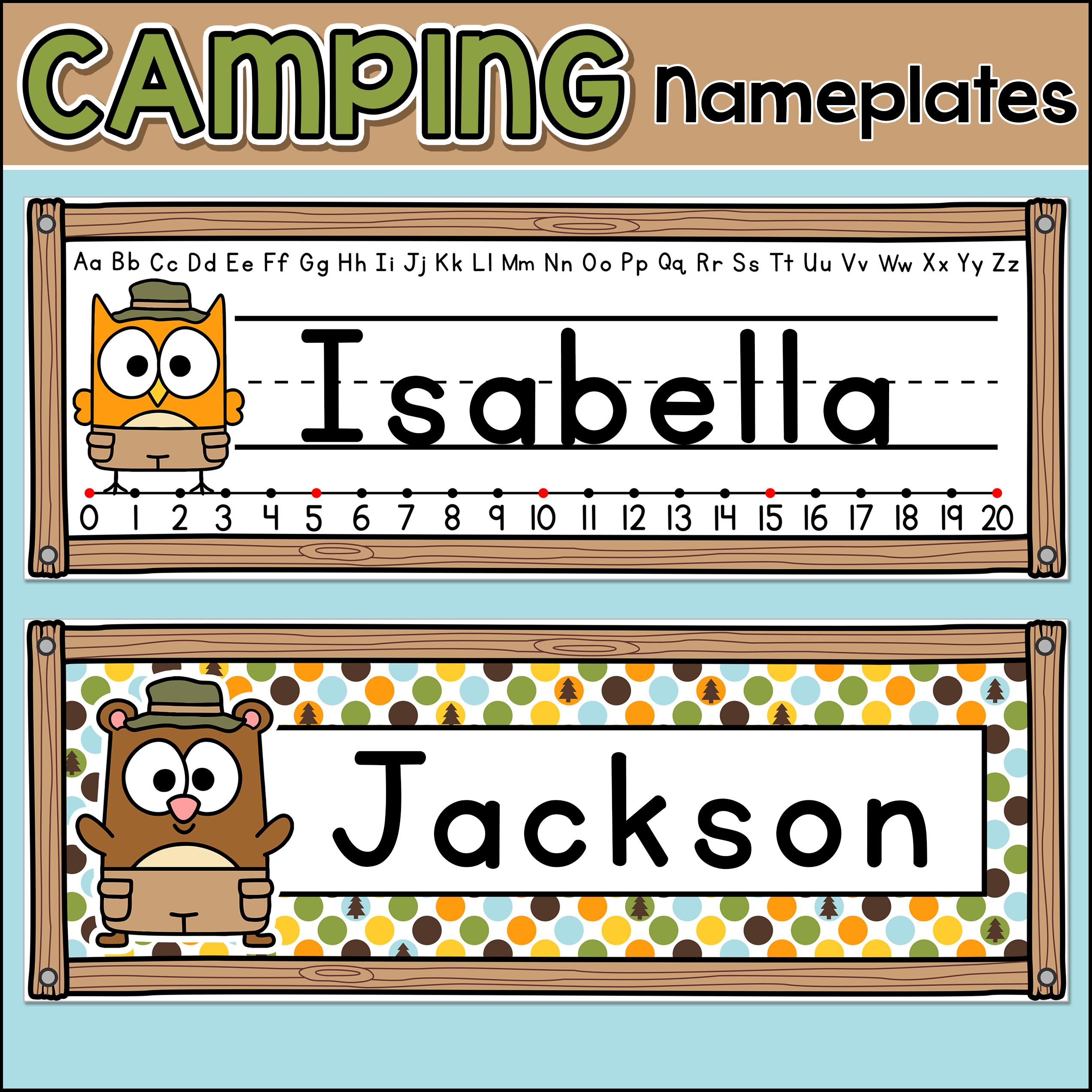 Camping Theme Classroom Desk Nameplates