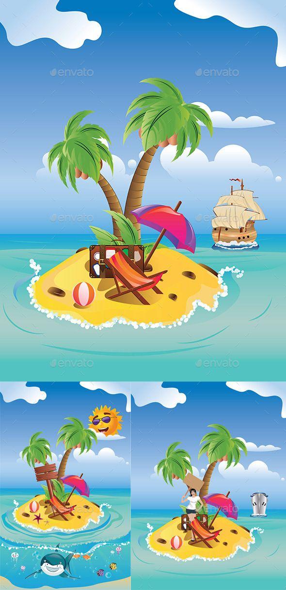 Cartoon Palm Island | Cartoon palm tree, Palm island, Palm ...