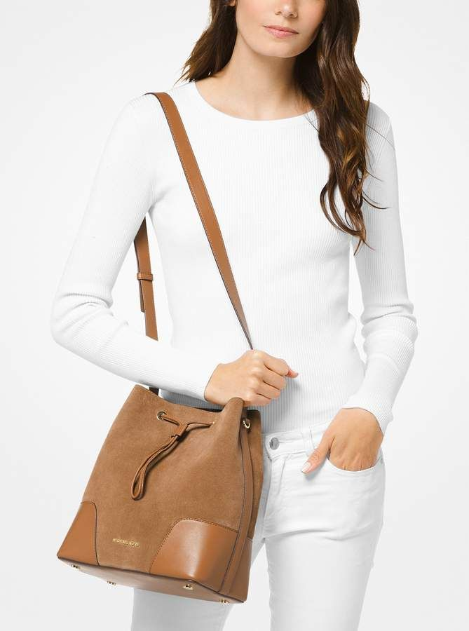 694551946cdfd MICHAEL Michael Kors Cary Medium Suede and Leather Bucket Bag ...