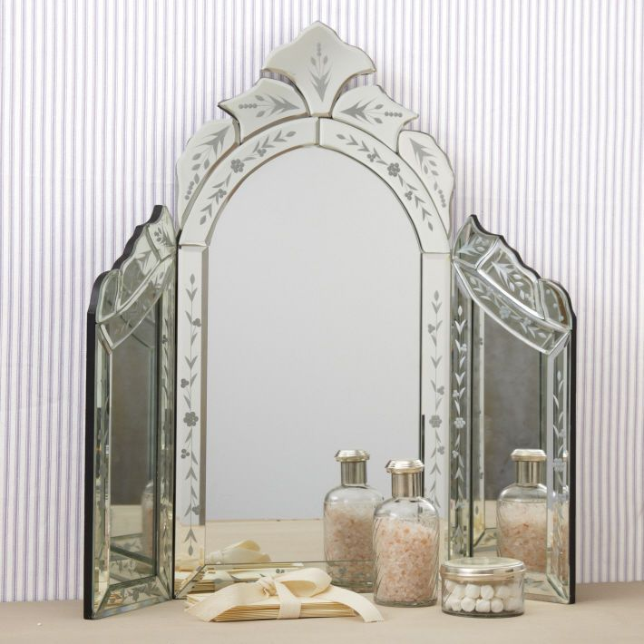 Modren Vanity Table Mirror Style Etched Glass Trifold Top Makeup With Ideas