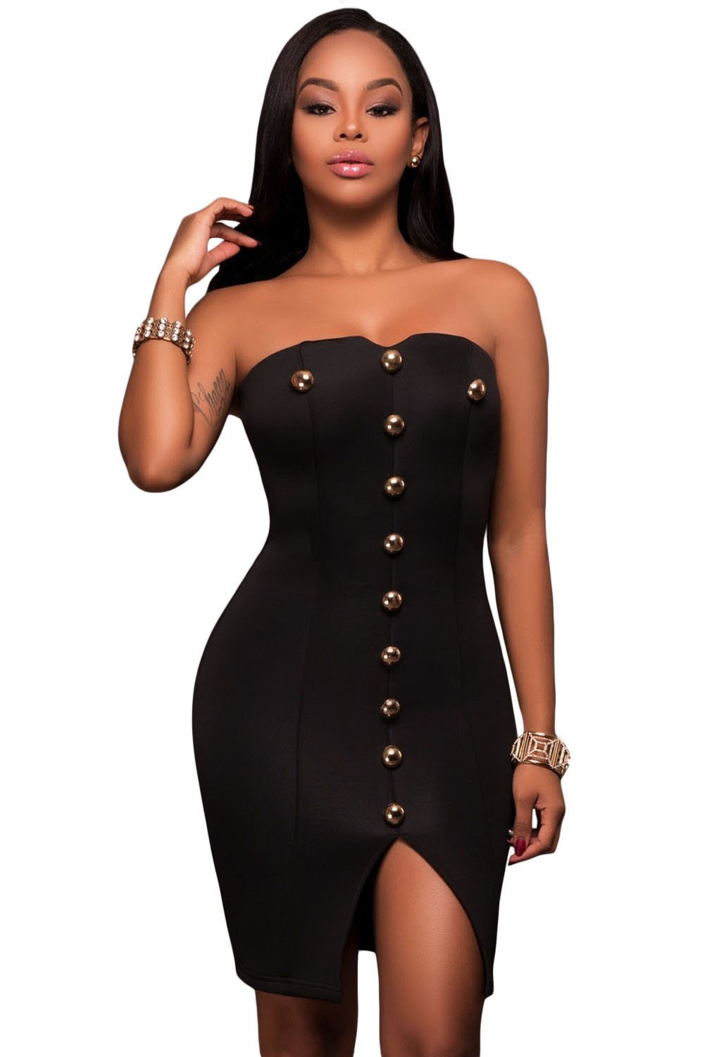 50ddd709b6 Gold Button Detail Strapless Black Mini Dress