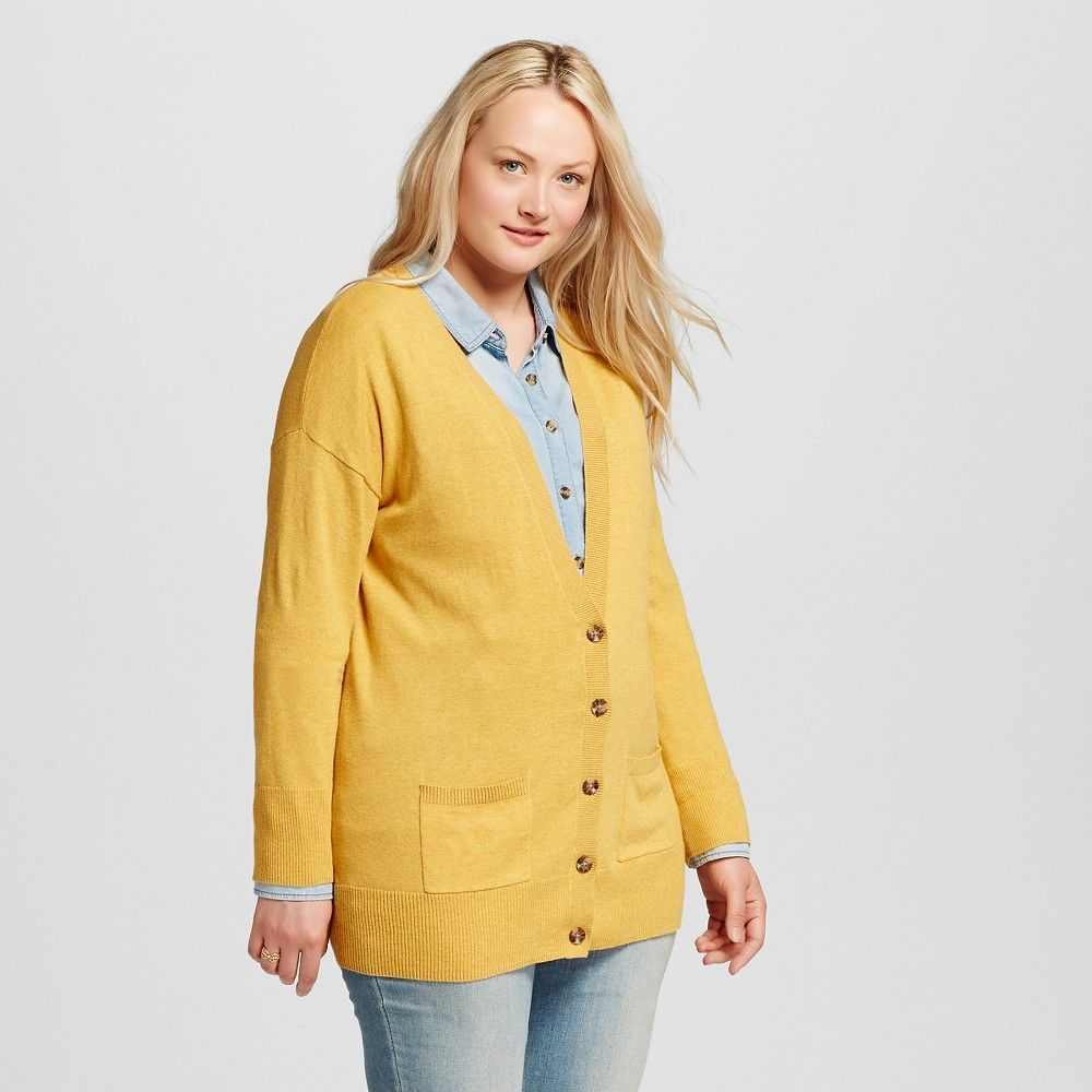 Women's Plus Size Cardigans Yellow 2X - Mossimo Supply Co ...