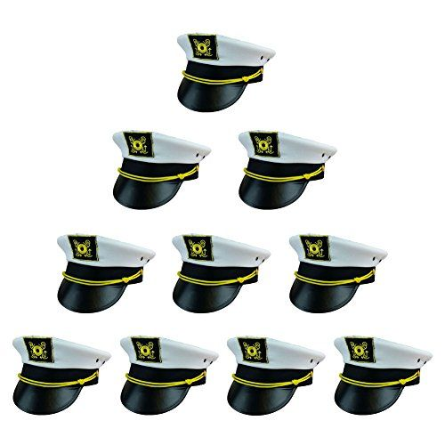 4122c67ee87b9 Amazon.com  Captain Hat - Yacht Boat Sailing Fishing Captains Cap (3 Pack)  Funny Party Hats®  Clothing