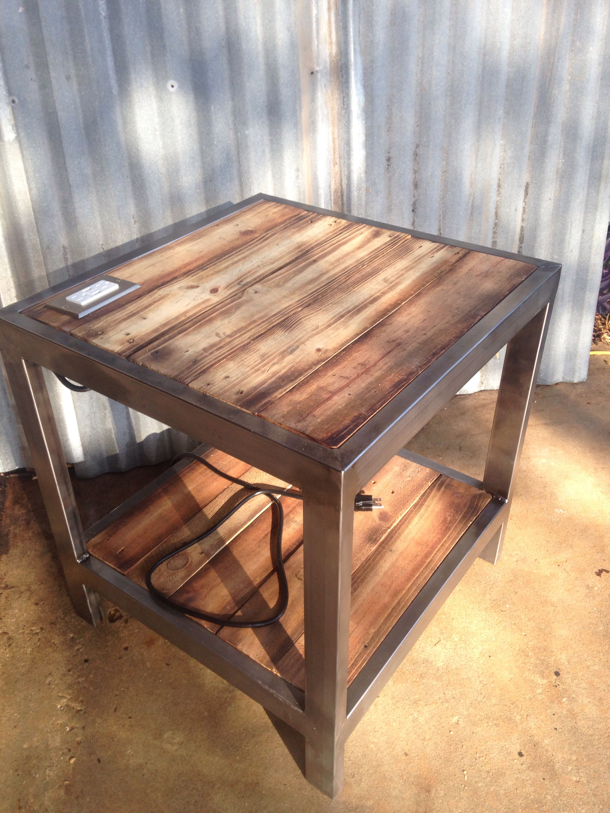 End Table With Built In Plug W Usb Ports Rustic Living Room