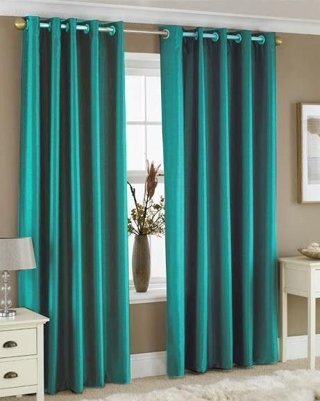Teal Curtains Bedroom Contemporary Style Faux Silk Silver