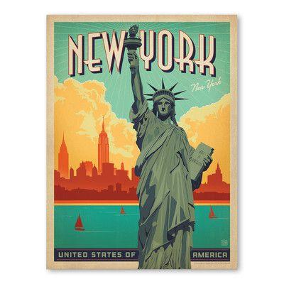 "East Urban Home New York City Liberty Vintage Advertisement Size: 10"" H x 8"" W"