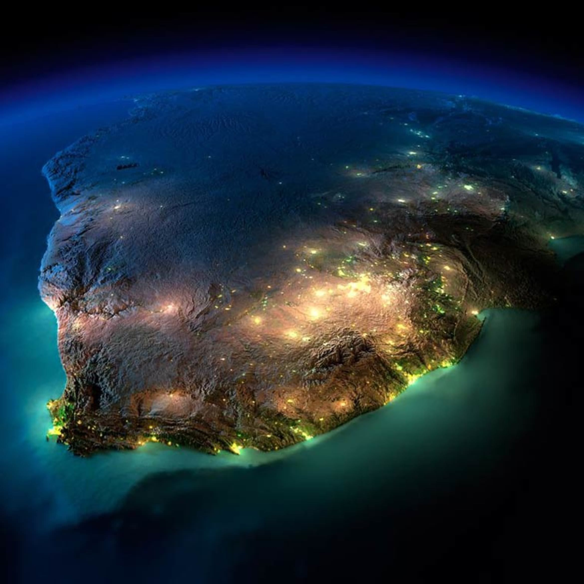 Map Of Africa From Space.Exaggerated Relief Map Of Southern Africa At Night Earth Earth