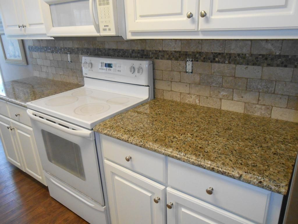 Marvelous New Venetian Gold Backsplash Ideas Part - 12: New Venetian Gold Granite Counter Tops-Ogee Edge-3x6 Walnut Travertine  Tiles With Scuro