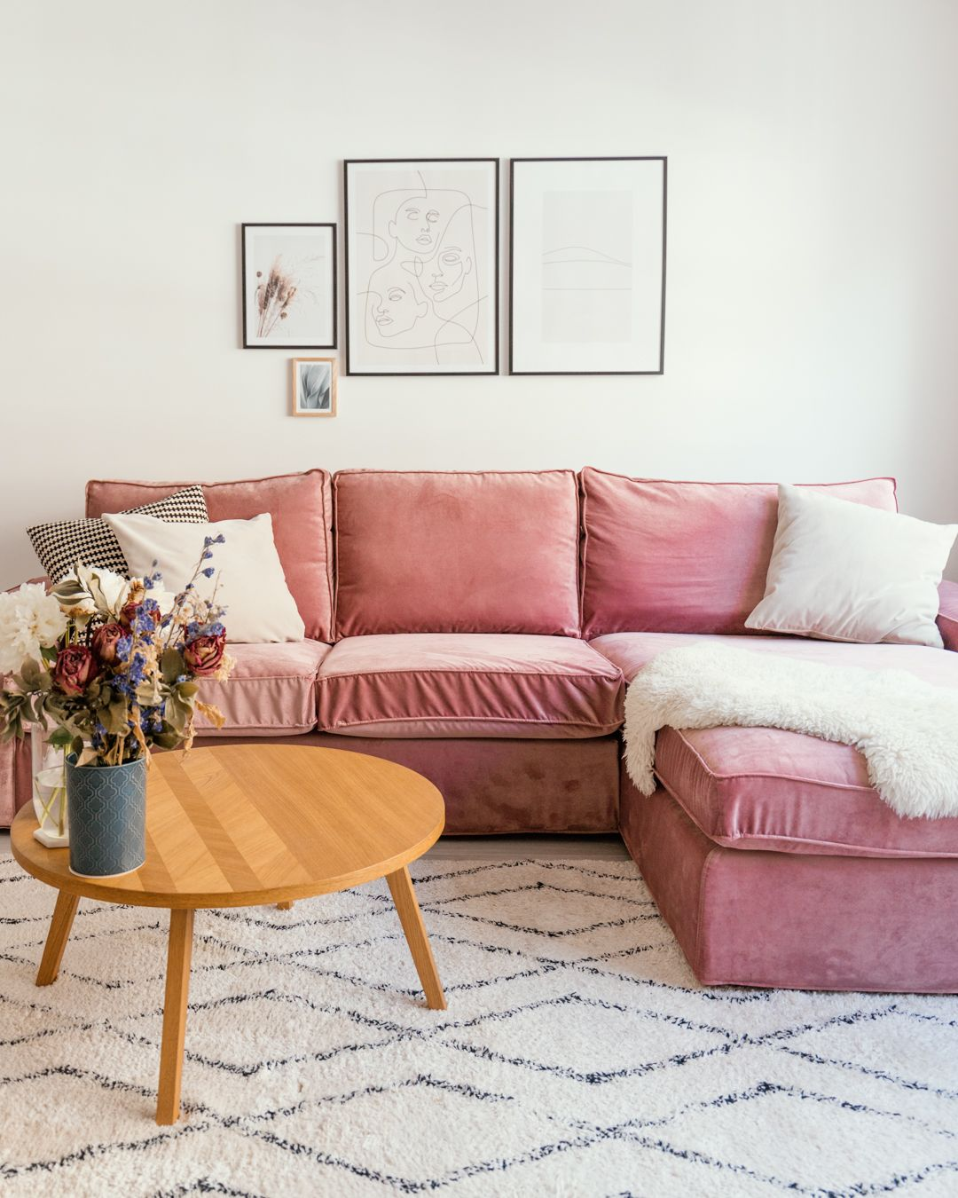 Ikea Kivik Velvet Pink Couch Cover By Bemz Pink Couch Living Room Pink Sofa Living Room Ikea Sofa Covers