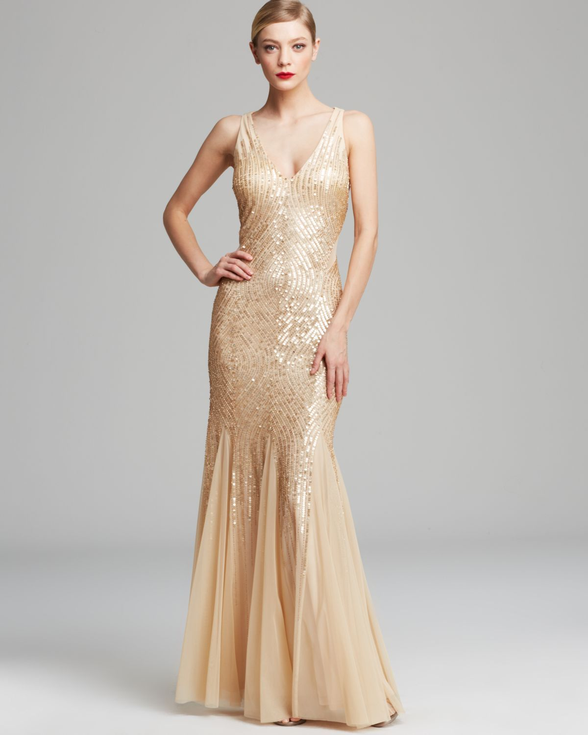 Papell cap sleeve beaded sequined gown dresses women macy s - Adrianna Papell Gown Sleeveless V Neck Beaded With Illusion Cutouts In Beige Champagne