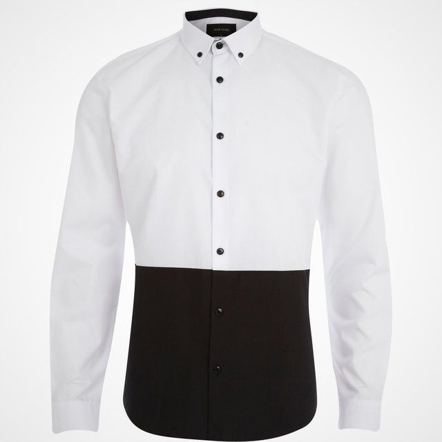 Fancy - Black and White Color Block Dress Shirt
