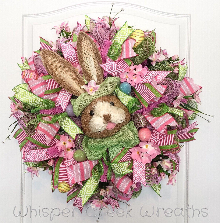Pink Bunny wreath spring decor Easter wreath