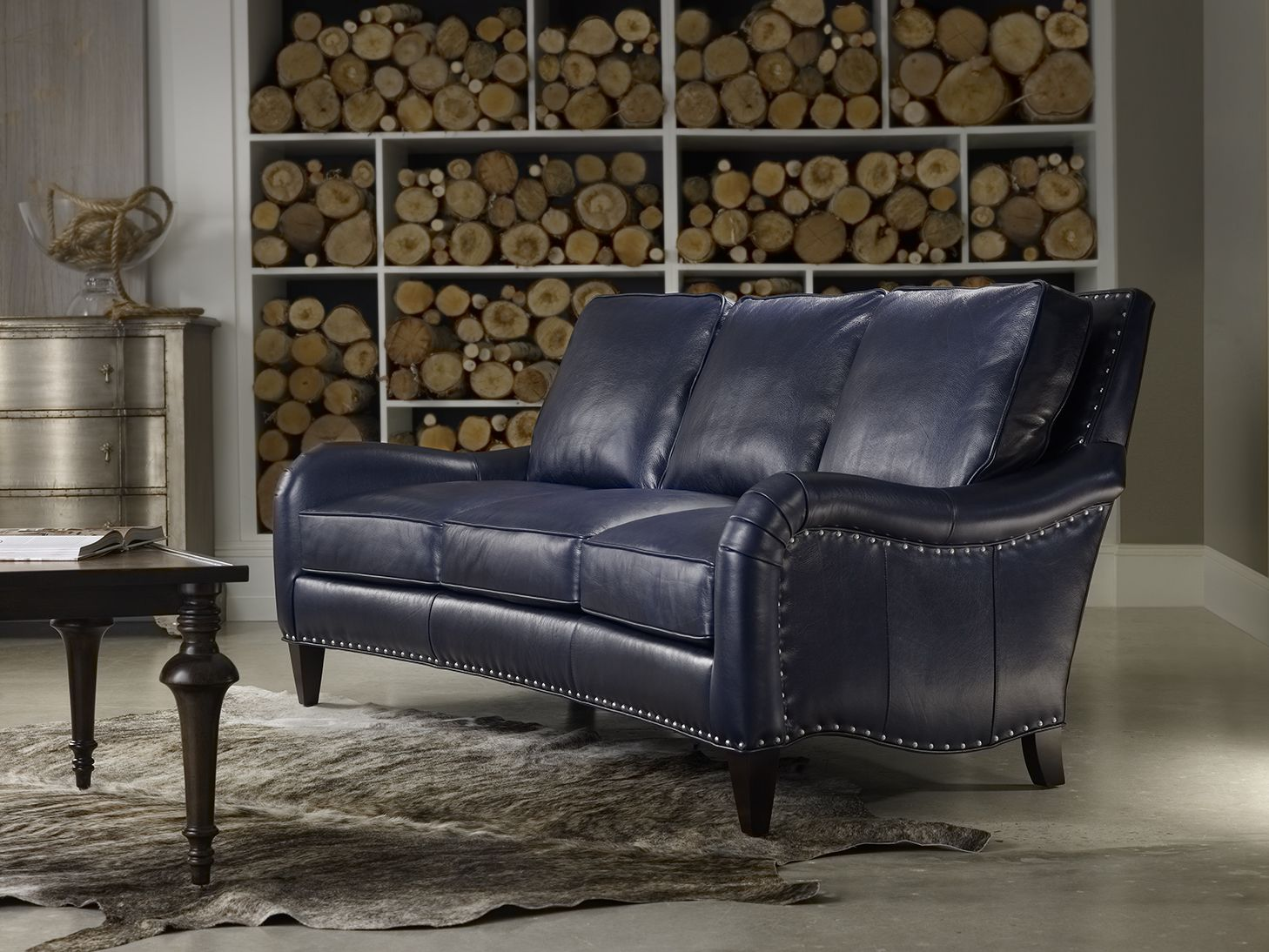 Best Feeling Blue Bradington Young Barth Sofa In Cobalt Blue Leather Sofa Living Room Seating 400 x 300
