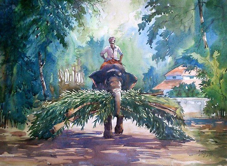 8 water color paintings nostalgia kerala india sunil linus for Asha ramachandran mural painting
