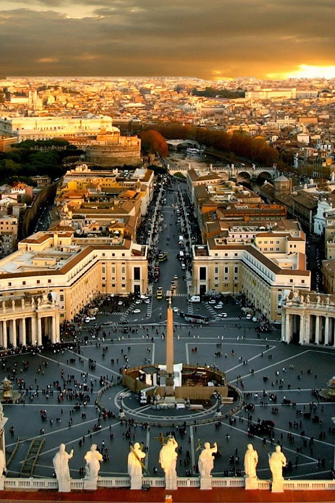 Spectacular view of Rome from St. Peter's Square, Vatican