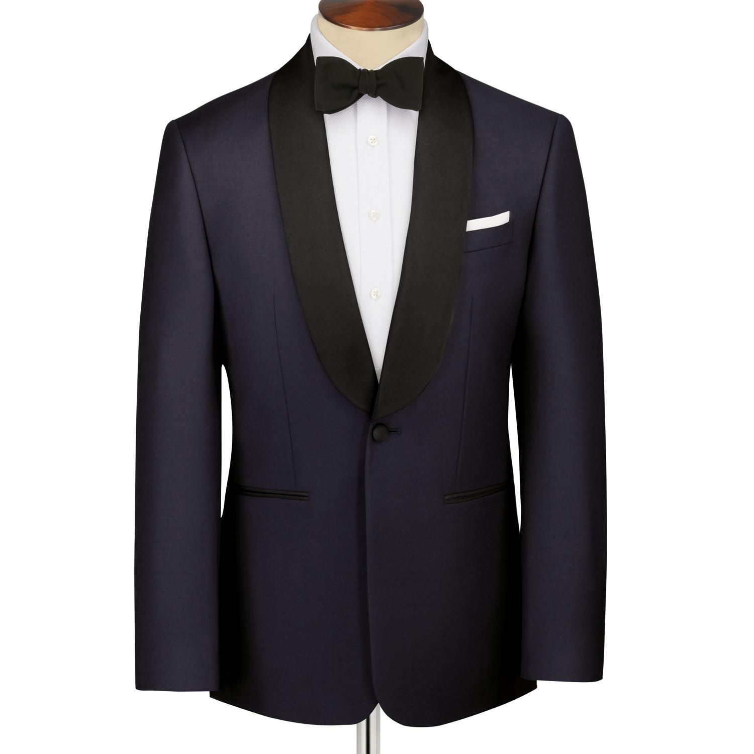 Midnight blue Slim fit shawl collar dinner suit | Men's ...