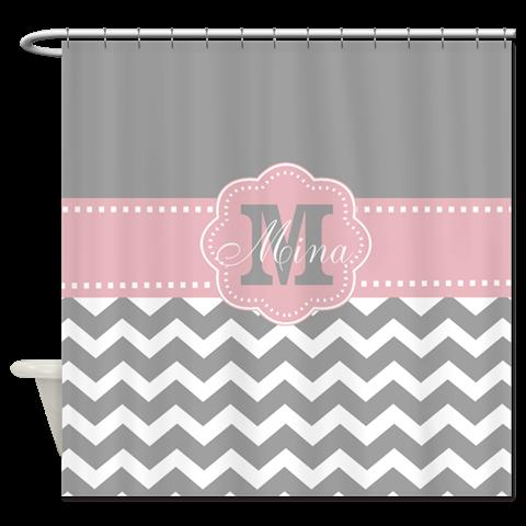 Gray Pink Chevron Monogram Shower Curtain By Designsbymanon Cafepress Shower Curtain Monogram Chevron Monogram Blue Grey Chevron