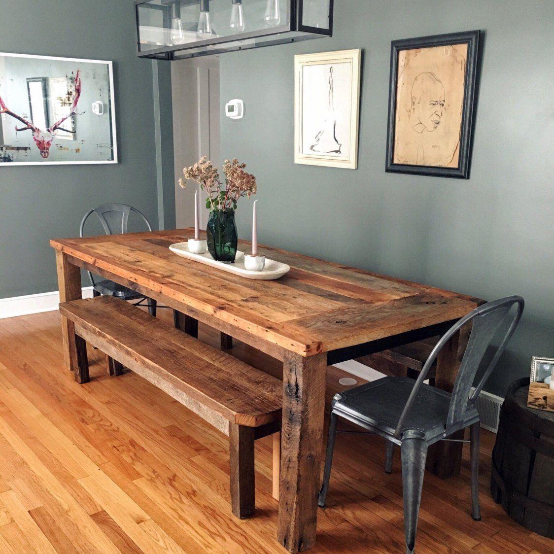 Reclaimed Wood Farmhouse Dining Table #Dine, #Table, #Wood