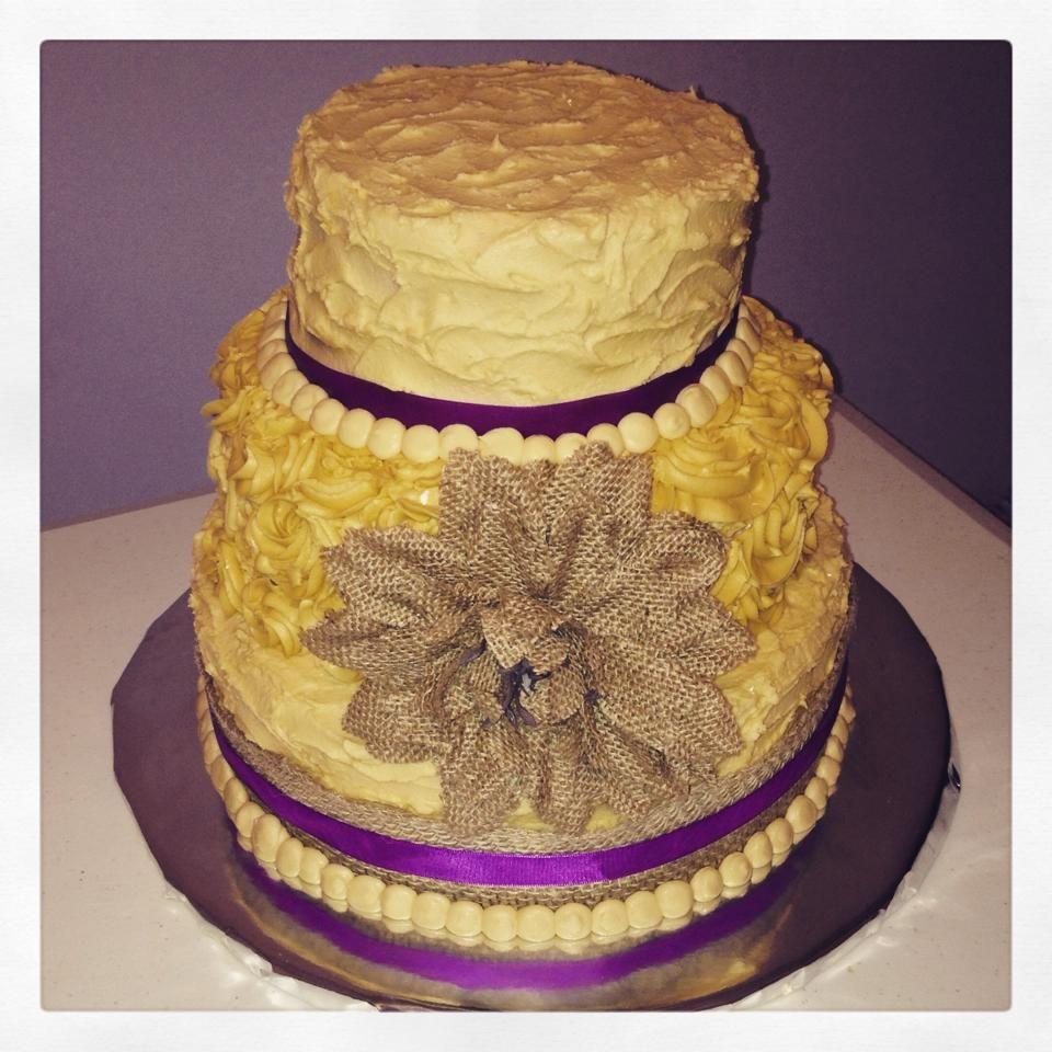 Three tier Ivory & Plum #rustic theme #wedding cake | My Cakes and ...