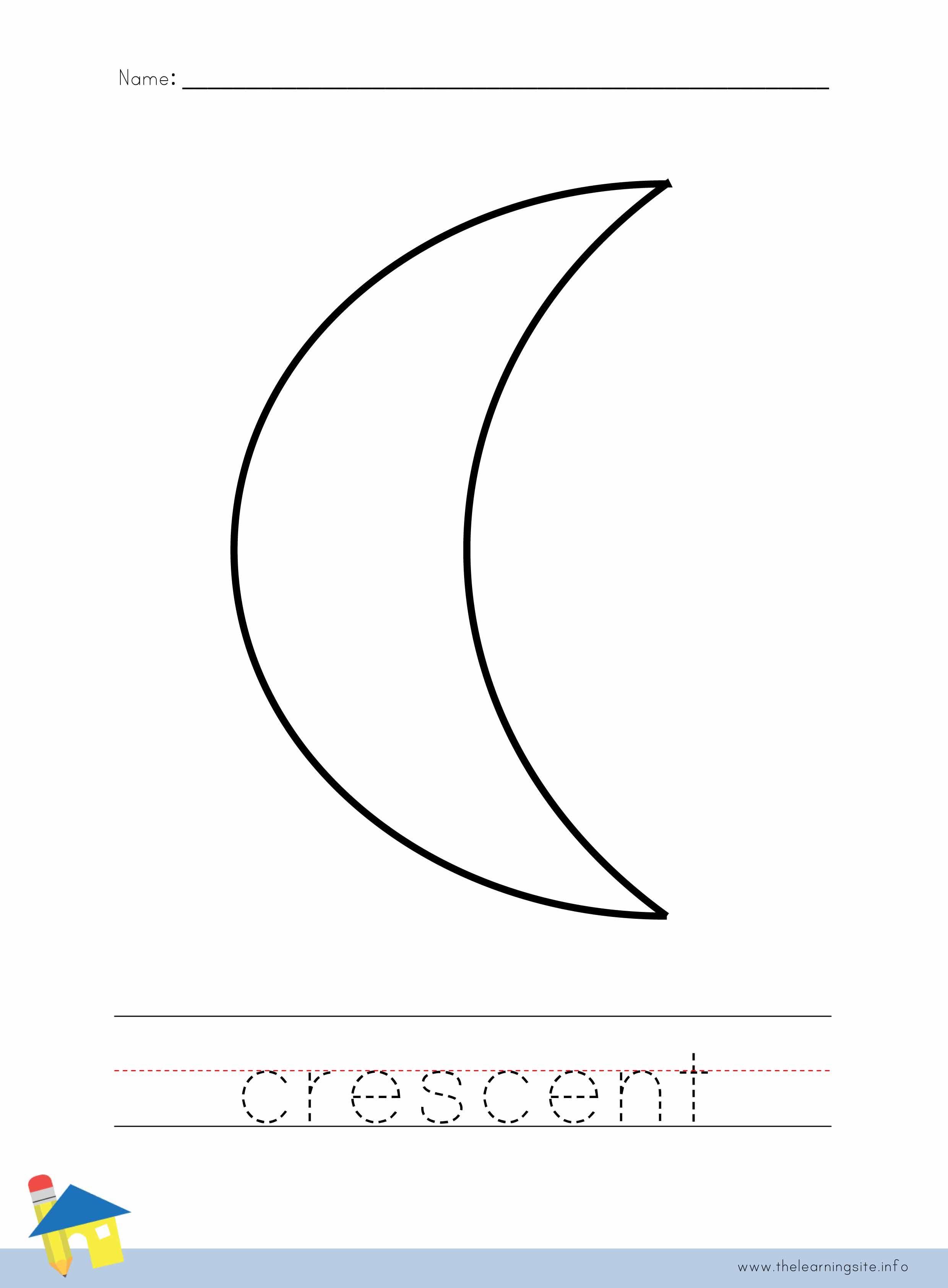 Crescent Coloring Worksheet | Shapes | Pinterest
