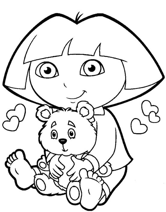 Dora The Explorer And Little Bear Coloring Pages