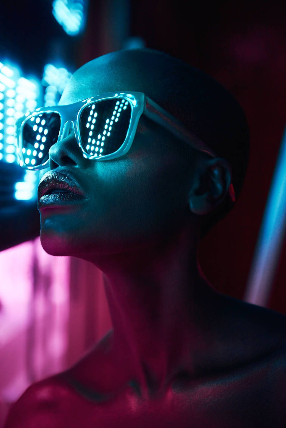 Pop Portraits With Neon Light Reflected